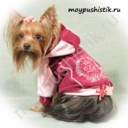 """Куртка велюровая """"Стефани"""" бордово - розовая"""