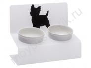 """Миска для животных Artmiska """"Йорк"""" двойная на подставке XS, белая, 2x360 мл"""