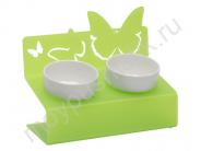 """Миска для животных Artmiska Deluxe """"Бабочки"""" двойная на подставке XS, салатовая, 2x360 мл"""