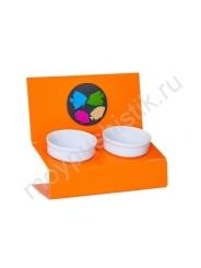 """Подставка с мисками """"Инь и Ян оранжевый"""" 3 цвета"""