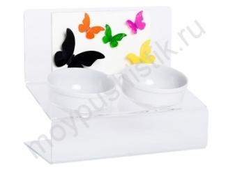 """Подставка с мисками """"Бабочки"""" 2 цвета"""