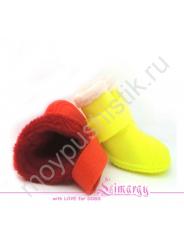 Резиновые сапоги на плюше для собак желтые
