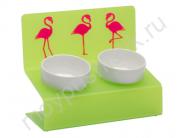 "Миска для животных Artmiska Deluxe ""Фламинго"" двойная на подставке XS, салатовая, 2x360 мл"