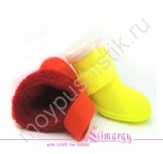 Резиновые сапоги на плюше желтые