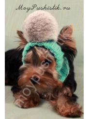 Шапка для собак зеленая - серый помпон