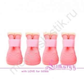 Резиновые сапоги на плюше розовые