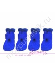 Резиновые сапоги на плюше синие