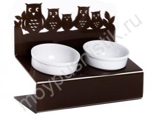 """Миска для животных Artmiska """"Совы"""" двойная на подставке XS, коричневая, 2x360 мл"""